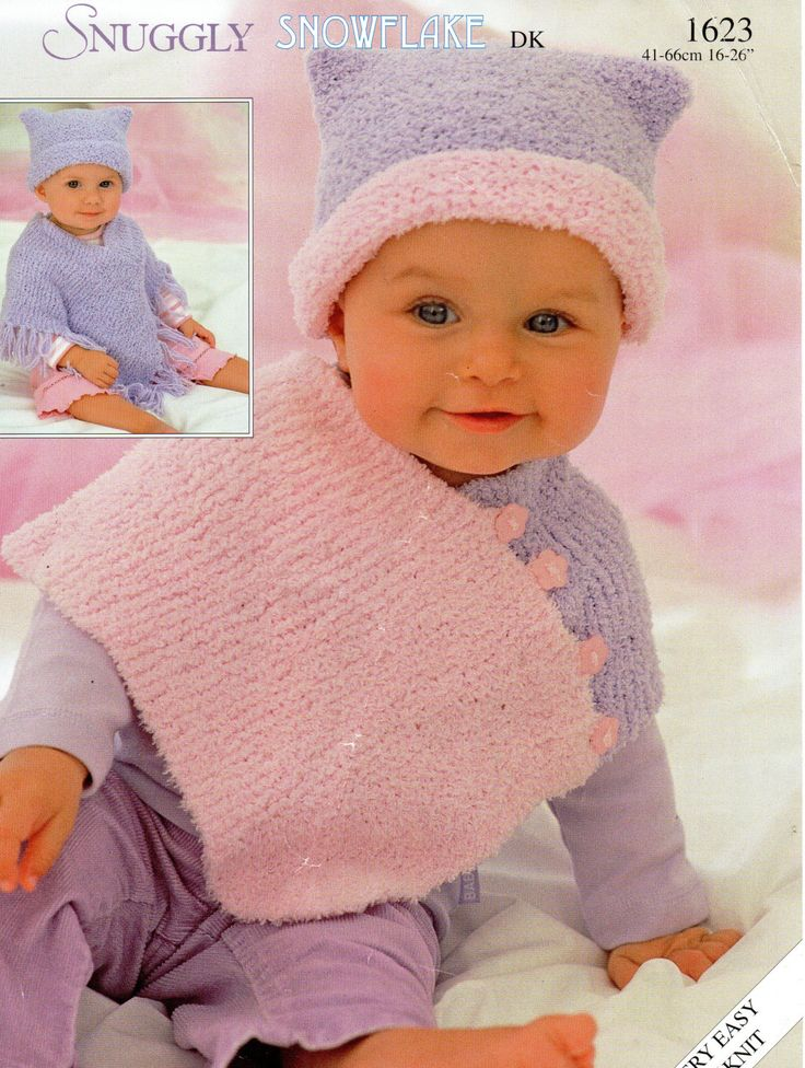 Easy Knitting Pattern For Baby Poncho : Baby ponchos knitting pattern childs hats