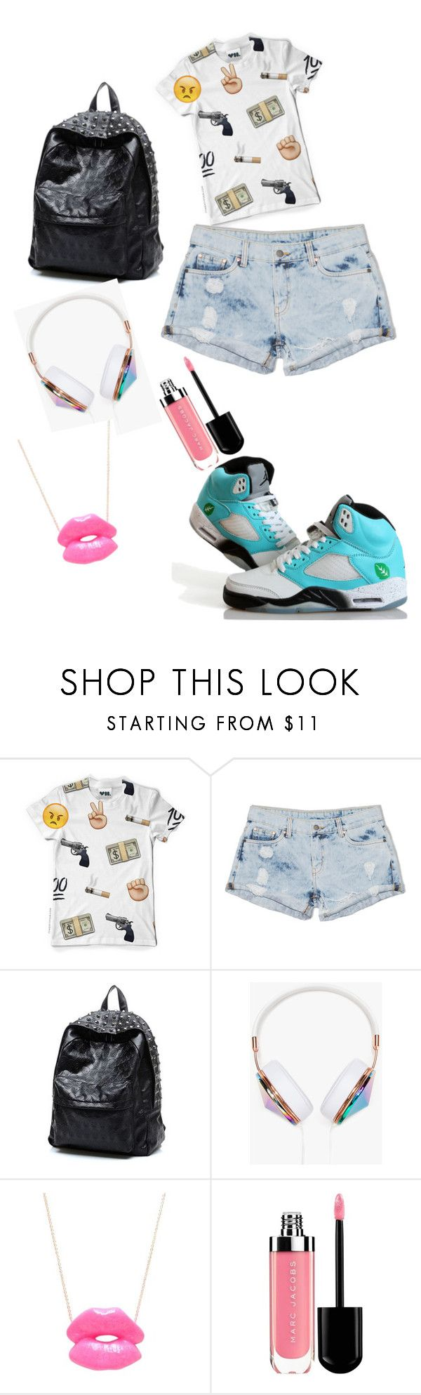 """""""Typical high school teenage outfit follow me and I'll follow you back"""" by neyra-rodriguez ❤ liked on Polyvore featuring Dricoper, Frends and Elephant Heart"""