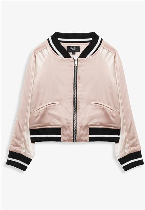 There is nothing we aren't loving about an embroidered bomber jacket!Featuring a zip through front, contrasting collar, cuffs and hemline, with front pockets, and detailed embroidered to the back. Pair her bomber over any outfit to make a statement.Also available in Girl's 8-16Fabric Content: 84% Viscose, 16% Cotton