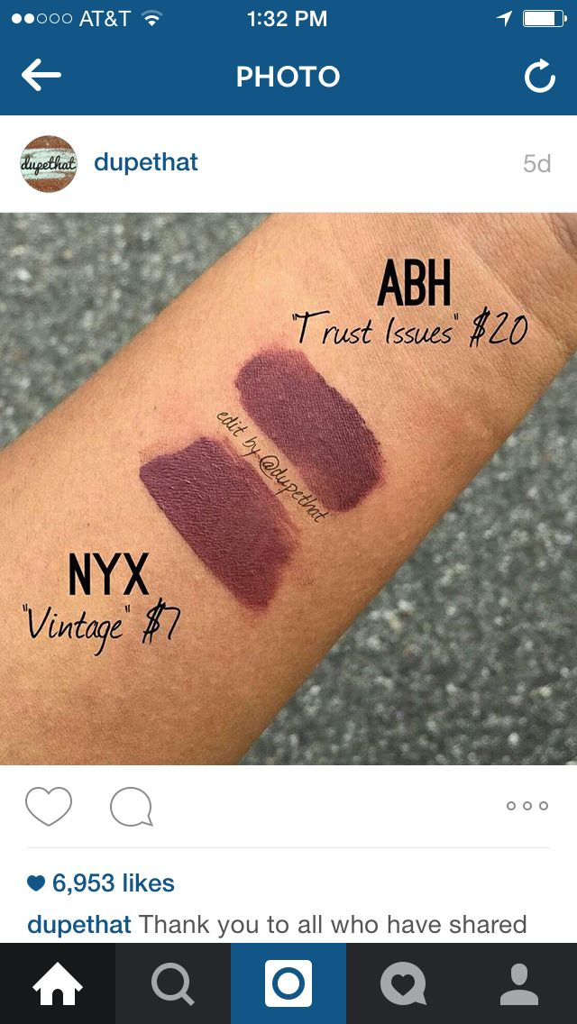 Nyx - Vintage; Dupe for Anastasia Beverly Hills liquid lipstick in Trust Issues.
