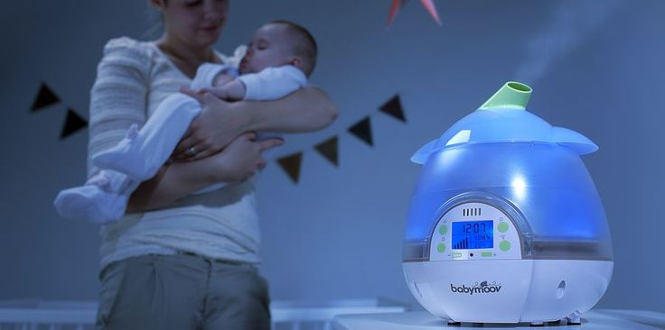 Digital Baby Humidifier The perfect humidifier to ensure baby can breathe comfortably This baby humidifier comes with a built in hygrometer and thermometer to monitor the right humidity and temperature level. It produces a cool and healthy mist at 360° thank to its rotating steam output. You can choose the humidity rate from 30% to 90% at a specific time. It also provides a nightlight function and can diffuse essential oils.