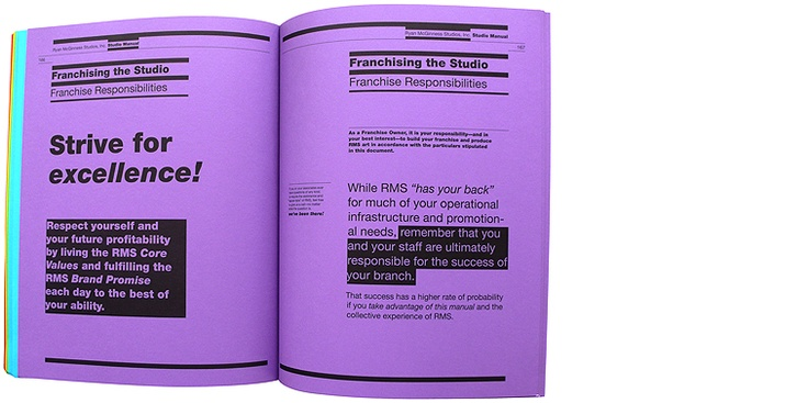 Studio Manual, 2010, 11 x 8.5 in., 1C, 192pp., softcover, ed. 500, ISBN: 978-84-96917-62-0 / Published by La Casa Encendida  Artist's book that provides employees and proprietors of RMS franchises with  a comprehensive, in-depth guide to the world of Ryan McGinness Studios, Inc.  Text by Tom Greenwood of BaseWords, Illustrations by Peter B. Cury