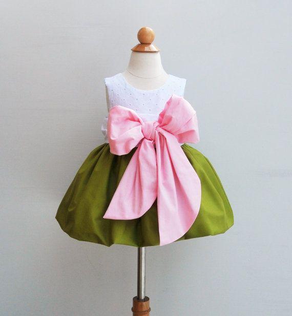 1st Birthday Dress - Flower Girls Dress - With Large Bow Bash - Wedding - Toddler Formal Dress -  KK Children Designs - 6M to 7 on Etsy, $80.00