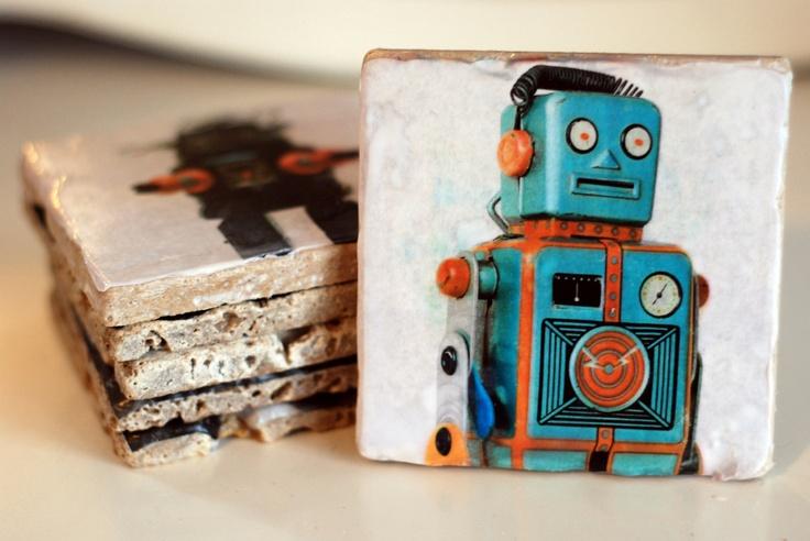 Vintage Robot Italian Marble Coasters. $25.00 USD, via Etsy. OMG! I'm in love!