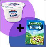 {skinny} Ranch Dressing...  Fat-Free Plain Greek Yogurt + Ranch Dressing/Dip Seasoning Mix    1/4th of recipe (about 1/4 cup): 42 calories, 0g fat, 256mg sodium, 3.5g carbs, 0g fiber, 2.5g sugars, 6g protein