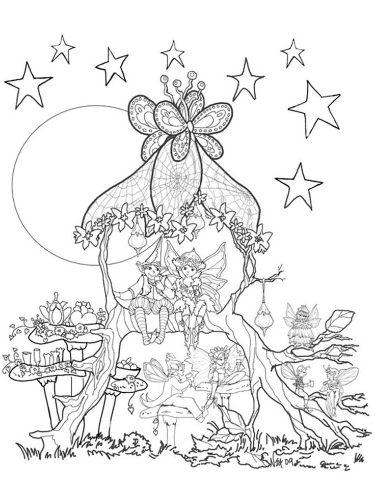 Fairies In A Tree House Coloring Page