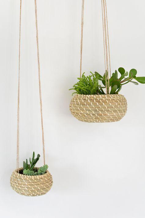 burkatron: DIY | seagrass hanging planters