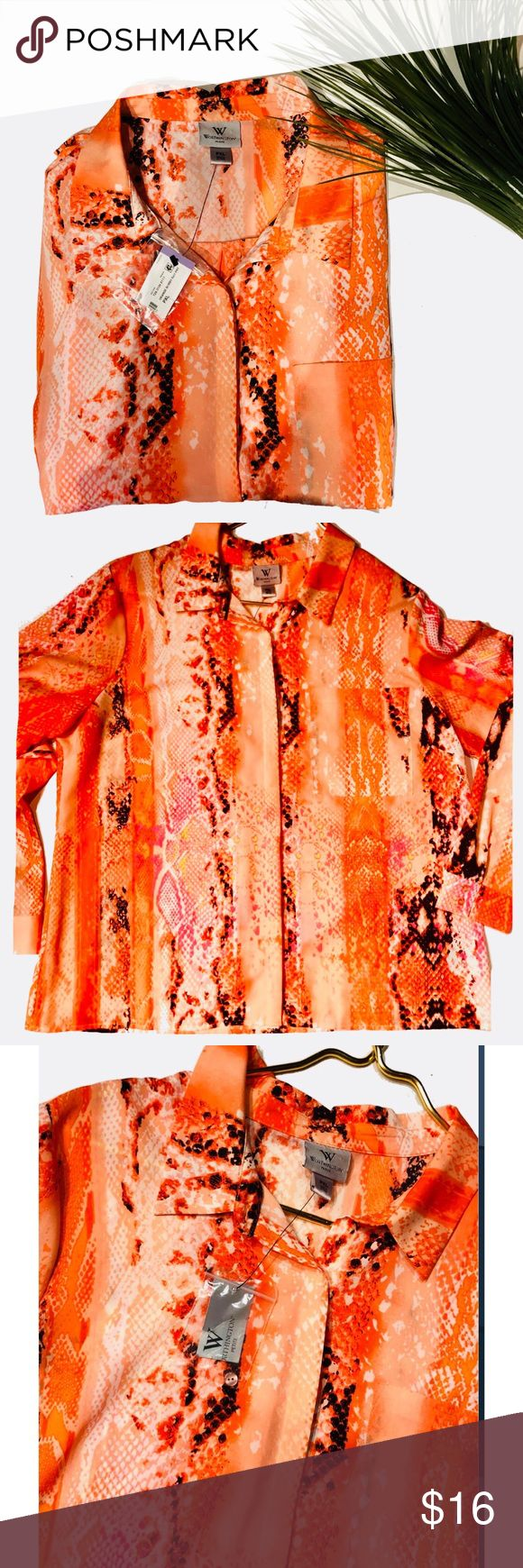 Nwt petite XL orange blouse So pretty  Vibrant colors , color is called Orange Bobby Ray  100% polyester Petite XL Worthington Tops Blouses
