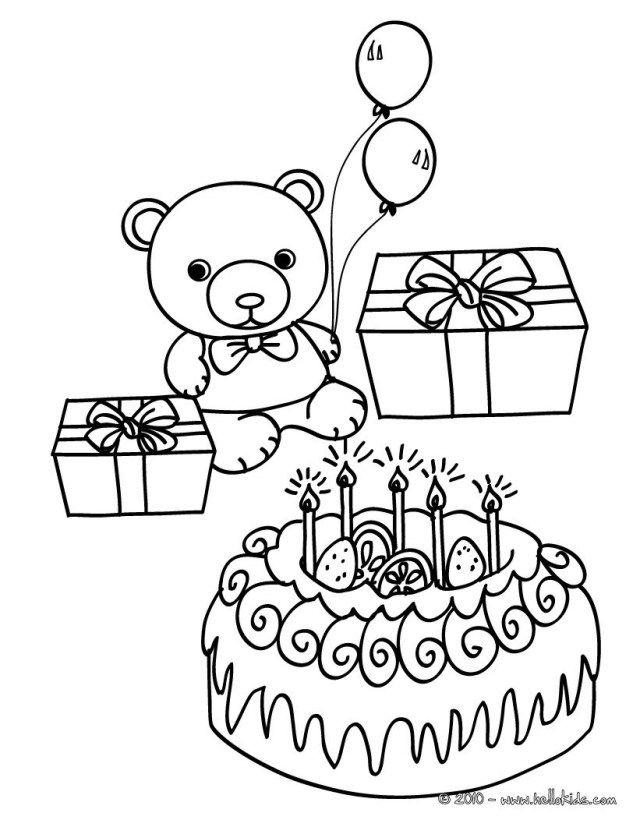 30 Great Picture Of Birthday Cake Coloring Page Teddy Bear