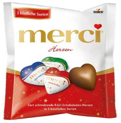 Smooth melting hearts made from delicate milk chocolate in three of the most popular varieties by merci.Store cool and dry.Net.Wt. 100g (3.5 oz)   Shipping Wt. 130gAttention: Heat sensitive!