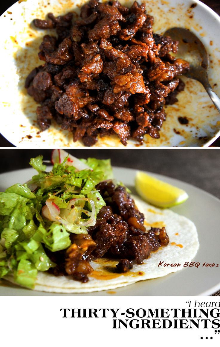 Korean tacos~this marinade is amazing! Used pork tenderloin, but will try the short rib next time..