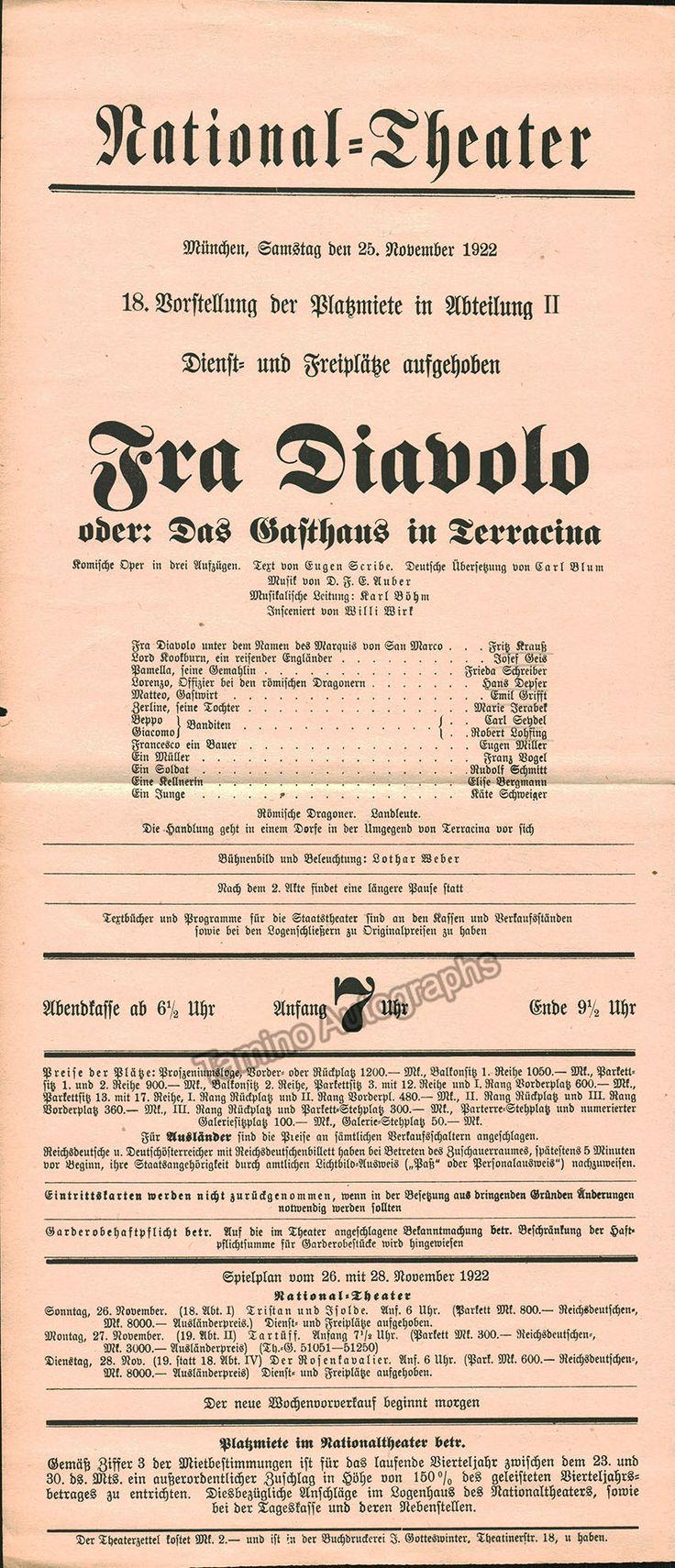 Bohm, Karl - Munich Playbill Fra Diavolo 1922
