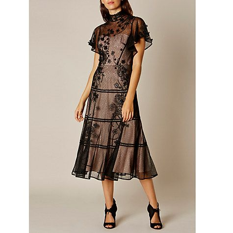 Buy Karen Millen Embroidered Dress, Black Online at johnlewis.com