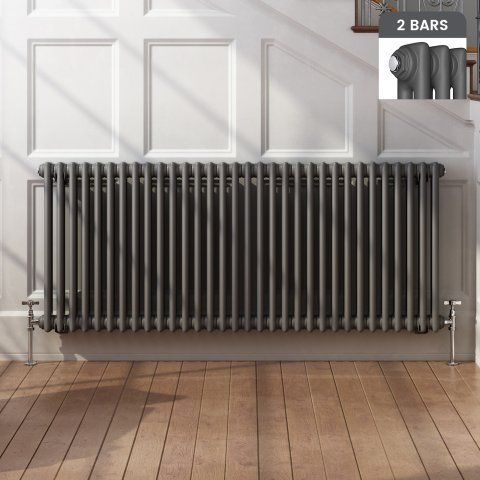Roma Horizontal Double Column Traditional Gas Radiator in Anthracite 600mmx1458mm - soak.com
