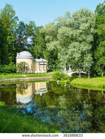 The old bridge with centaurs in the park of Pavlovsk, Russia