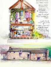 The Malt Kiln, the family's second major mill conversion. Illustration taken from Jean's book – Earth, Fire and Water
