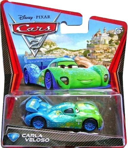 Disney / Pixar CARS 2 Movie 155 Die Cast Car #8 Carla Veloso by Mattel Toys. $12.99. For Ages 3 & Up. Disney/Pixar Cars 2 Movie Collection 1:55 scale car from Mattel. Collect them all!. Carla Veloso is #08. All your favorite characters from the Disney Pixar film, CARS 2, in 155th scale. With authentic styling and details, these die cast characters are perfect for recreating all the great scenes from the movie. Collect them all!Star racecar Lightning McQueen and the in...