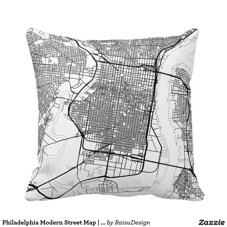 Philadelphia Modern Street Map | Any City Throw Pillow