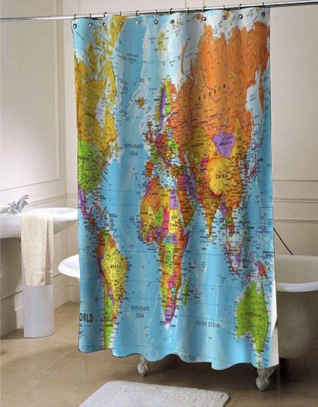 World Maps shower curtain