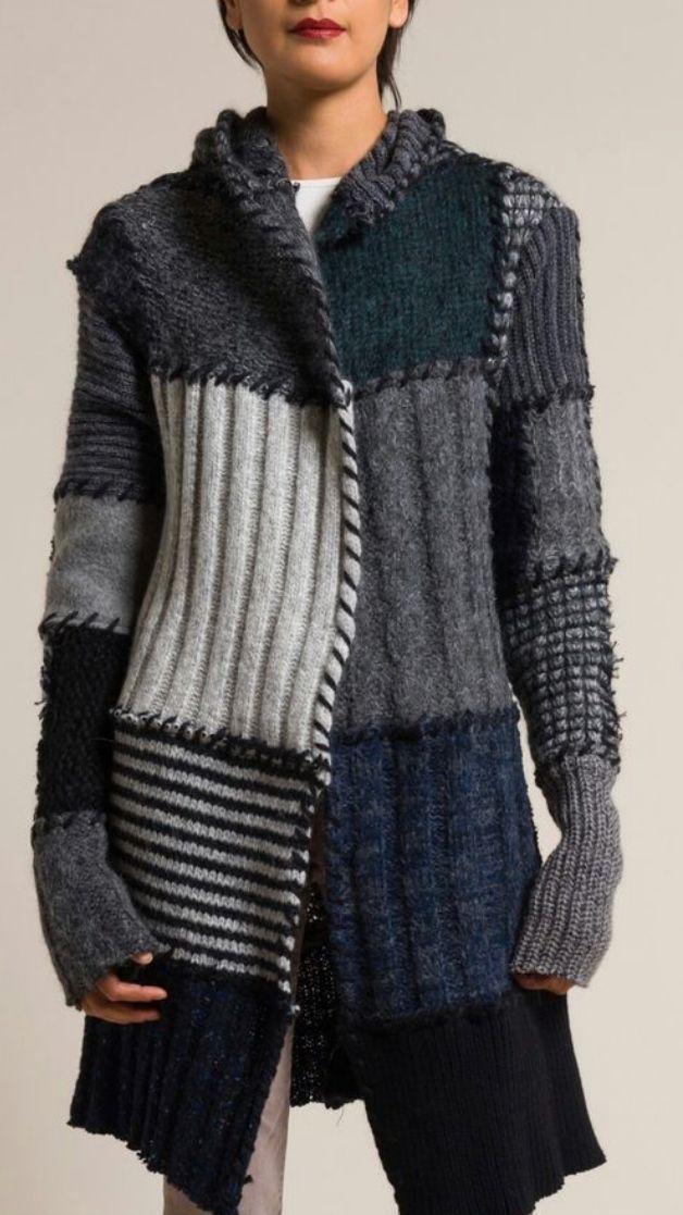 Casaco patchwork de tricô