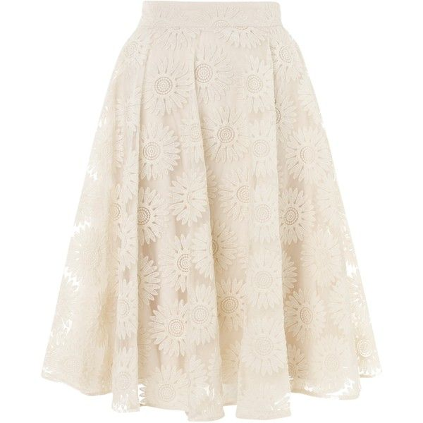 Somerset by Alice Temperley Organza Skater Skirt, Cream found on Polyvore