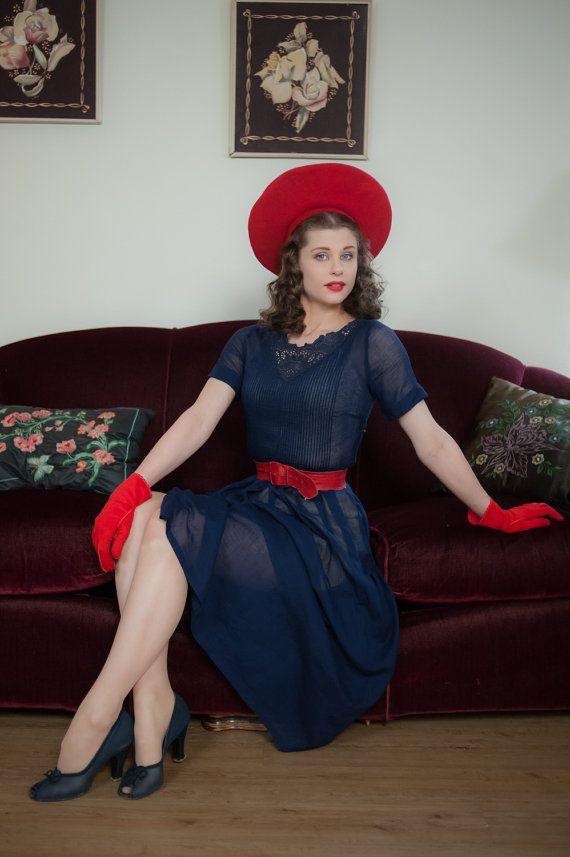 Vintage jaren 1950 jurk  charmante zomerdag pure marine door FabGabs
