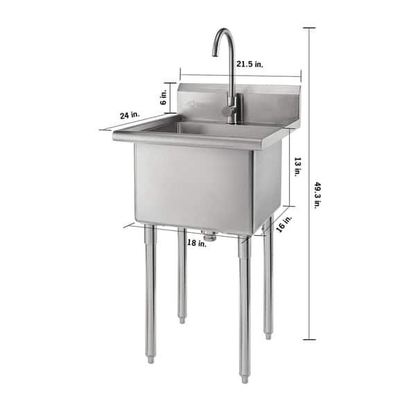 Trinity Stainless Steel Single Basin Utility Sink Silver In 2020