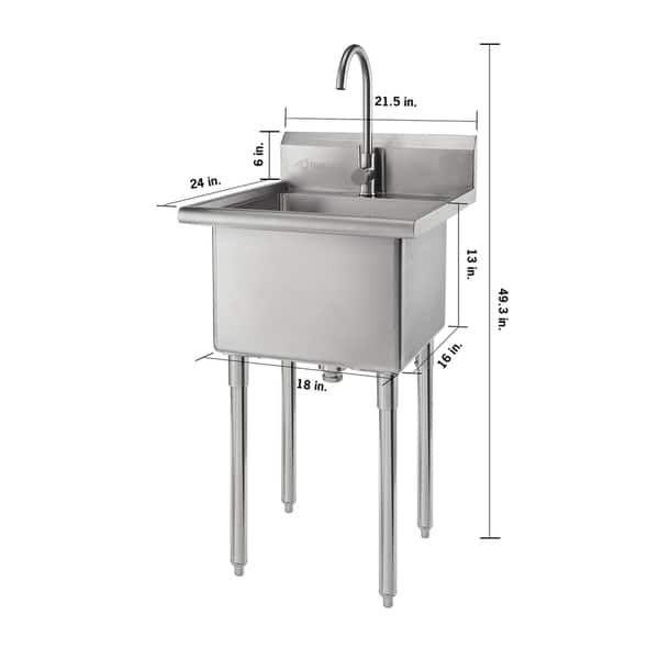 Trinity Stainless Steel Single Basin Utility Sink Silver In 2020