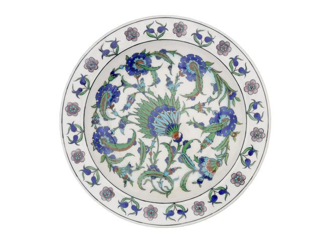 Theodore Deck an Iznik Style Pottery Charger, circa 1875
