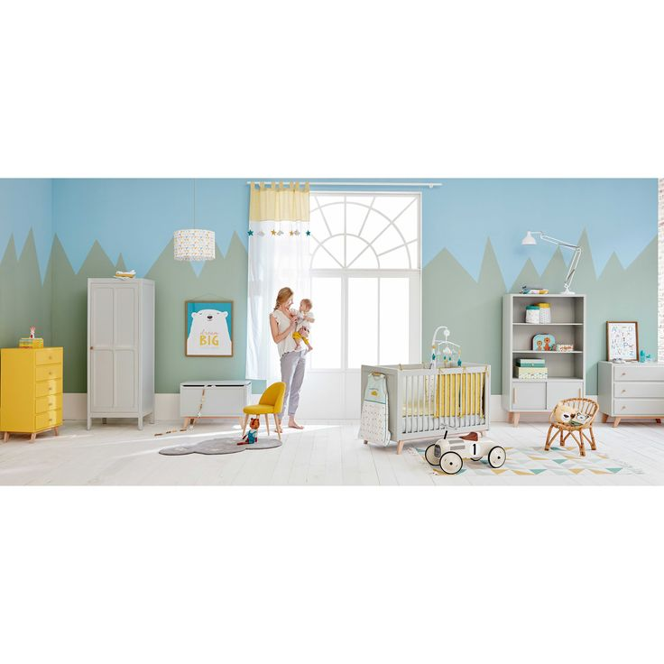 Grijze houten opbergkoffer voor speelgoed L 80 cm | Maisons du Monde
