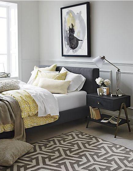 254 best Grey & Yellow Interiors images on Pinterest | Bedroom ...
