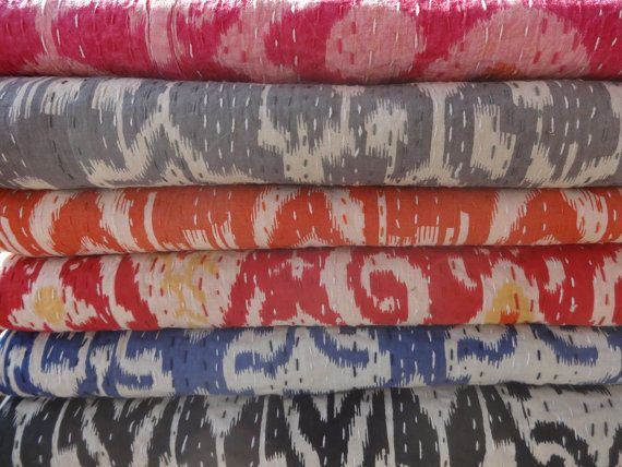 Whole Sale Lot of Ikat Kantha Quilt, 10 Handmade Ikat Bedspread, Twin Size Throw #Handmade #Traditional