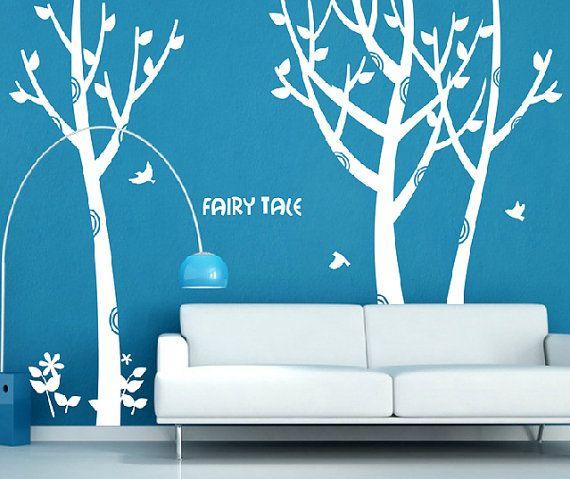 Best Wall Stickers Images On Pinterest Wall Stickers Tree - Wall decals birdsbirds couple on branch wall decal beautiful bird vinyl sticker