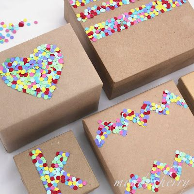 Gift Wrapping Ideas - Hole Punch Confetti!  http://notmassproduceddotcom.blogspot.fr/2012/08/gift-wrapping-ideas-hole-punch-confetti.html