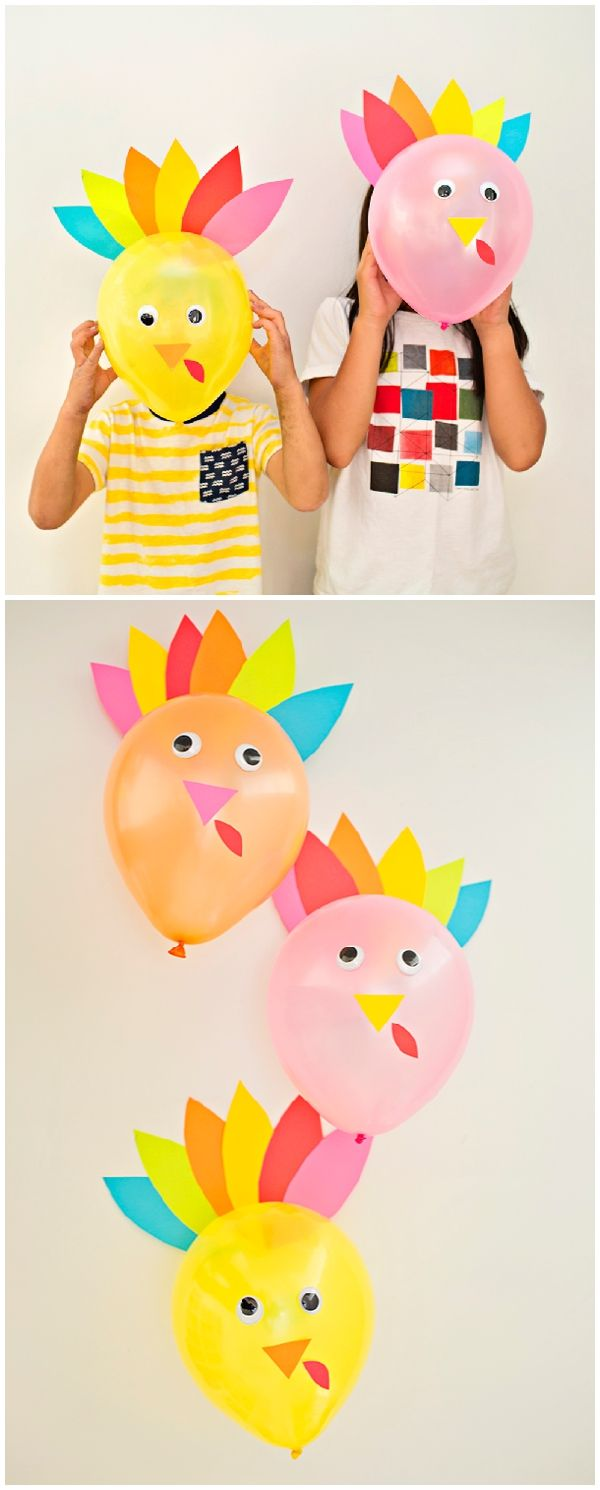 DIY Thanksgiving Turkey Balloons. Cute and easy turkey craft for kids or decor for your Thanksgiving table.