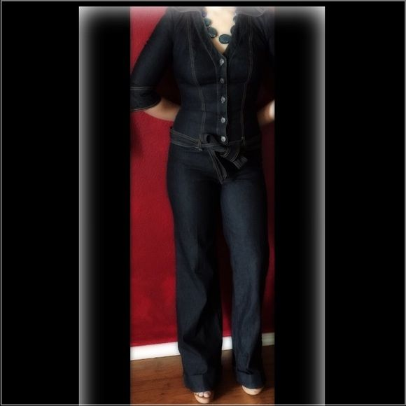 BISOU BISOU Jean Jumpsuit XLNT COND: if u are shorter than 5'8, u need to wear heels; however u can roll up the pant legs up to change the look & height-I've seen worn all the way rolled up to knee Bisou Bisou Jeans Flare & Wide Leg