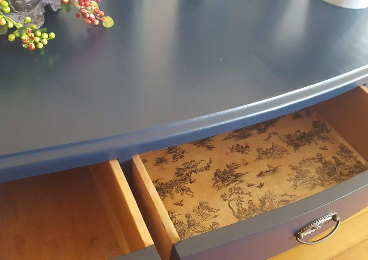 Added French toile tissue and sealed to this dresser drawer for  an added french chic feel 😊 https://www.facebook.com/refaitfurniture2015/