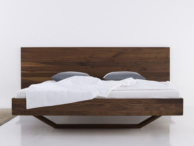 Real walnut wood bed with trapezoidal leg #furniture #design