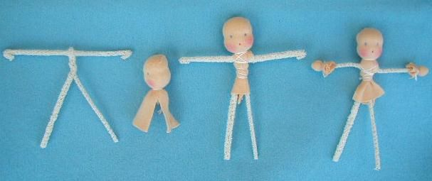 Make a body from pipe-cleaners. The length of the pipe-cleaners is written on the pattern. Bend the ends of the arms a half cm (quarter inch) inwards. Cut the neck on the sides and push it onto the body in between. Bind the neck under the arms together. Wrap a little bit of wool around the hands and bind these off with small squares of skin-tone tricot.