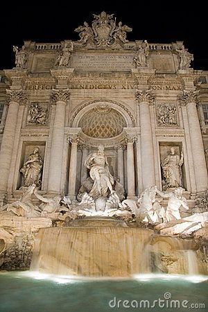 Fontana di Trevi, historical monument in Rome, captured by night.
