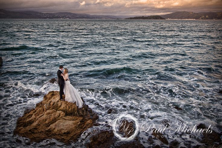Wellington beach location photo with the bride and groom. Wellington weddings by PaulMichaels photography http://www.paulmichaels.co.nz/bede-dawn-wedding/