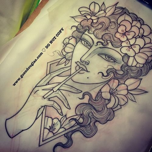 First one for tomorrow @checkerdemontattoos here in Stuttgart …  rhododendrons and pansies in hair and holding a vintage cigarette holder. Looking forward to it!! #tattoo #tattoos