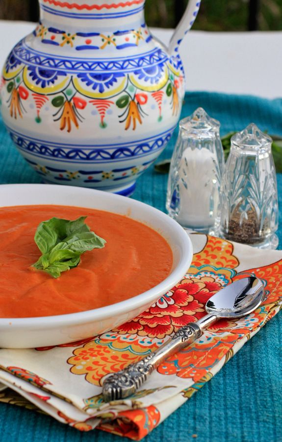 """Roasted """"Cream"""" of Tomato Soup - Make this soup now while tomatoes are at their best & freeze to eat later on.  Best tomato,soup ever!"""