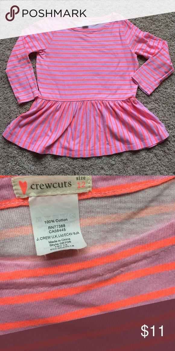 J Crew Crewcuts girls' peplum top Adorable cotton peplum top from J Crew's kids' line. Girls' size 12.  Excellent condition. J. Crew Shirts & Tops Tees - Long Sleeve