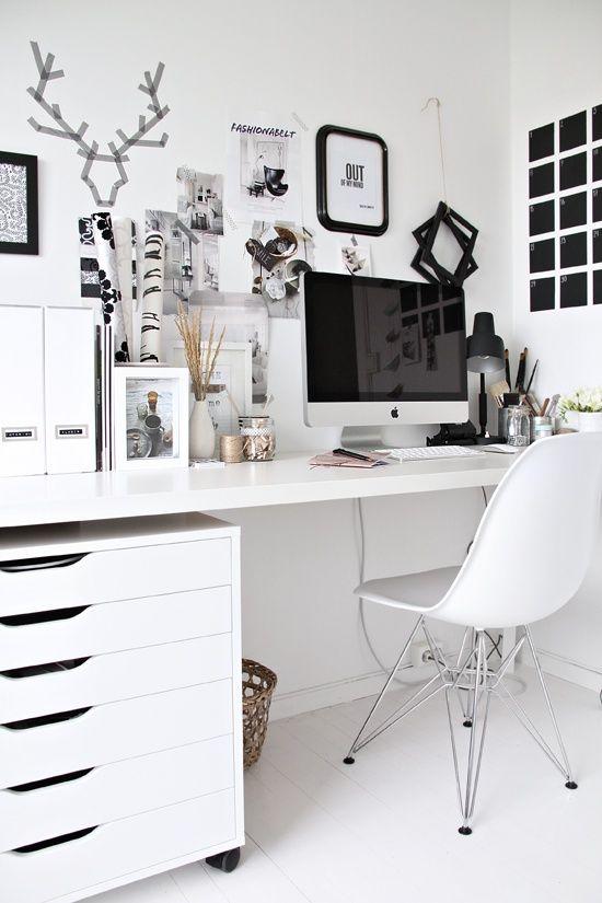 Desk Workspace Interiors Nordic Clean Scandinavian Office