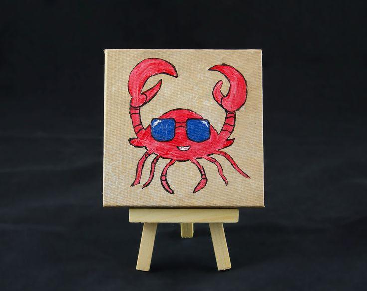 Crab Decor Mini Canvas Art Small Painting Desk Tiny Whimsical Beach 4x4