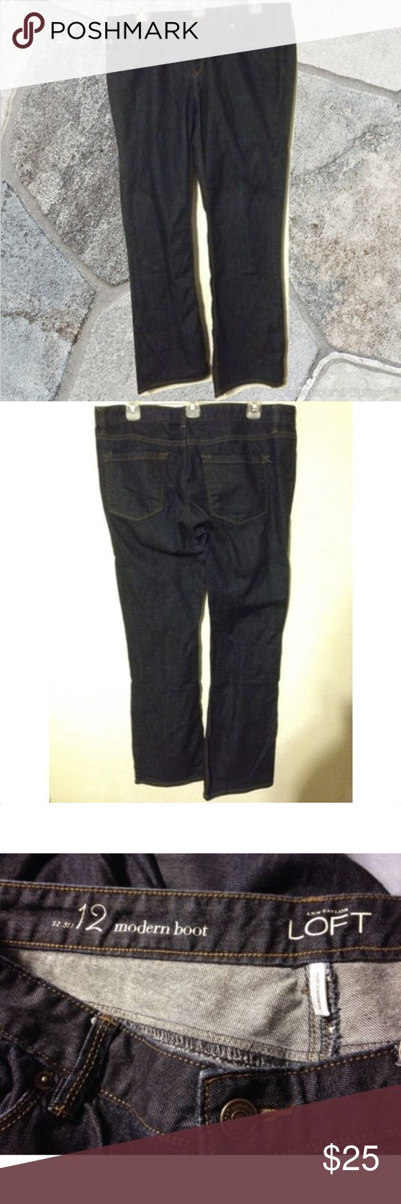 """ANNE TAYLOR LOFT Boot Cut Jeans 31/12 ANNE TAYLOR LOFT Womens Jeans Dark Blue Denim Sz 31/12 Modern Boot Cut Mid Rise *Waist (measuring from side to side, unstretched): 18""""  or  48.2cm *Inseam:  31"""" or 78.7cm *Rise (from crotch seam to waistline):  9"""" SEE LAST PHOTO FOR ALL DETAILS.  THANKS! LOFT Jeans Boot Cut"""