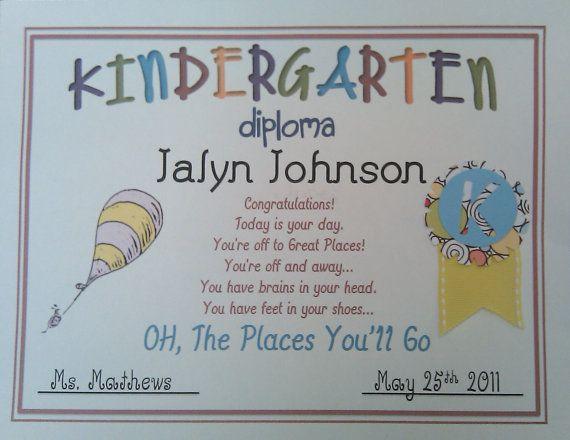 Dr. Seuss Kindergarten Graduation Diploma!