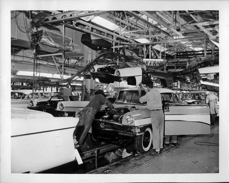 154 best old car dealerships and factory photos images on for Motor city assembly line