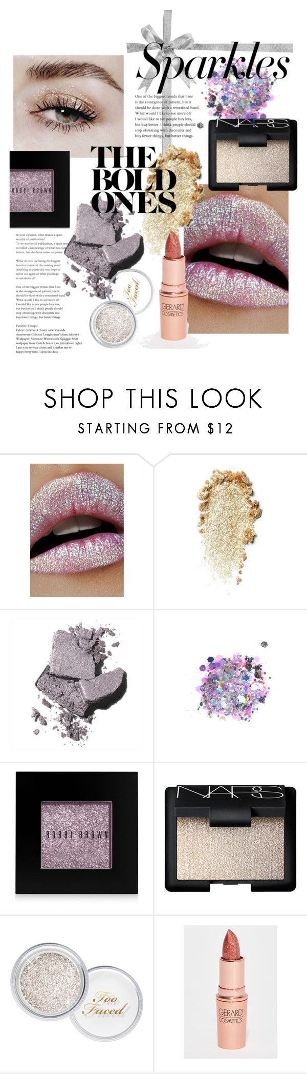 """""""#PolyPresents: Sparkly Beauty"""" by fabulusvogue ❤ liked on Polyvore featuring beauty, Lime Crime, Bobbi Brown Cosmetics, The Gypsy Shrine, NARS Cosmetics, Too Faced Cosmetics, Gerard Cosmetics, contestentry and polyPresents"""